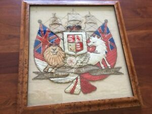 RARE Embroidered Coat-of-Arms, Monarch United Kingdom outside Scotland, Nautical