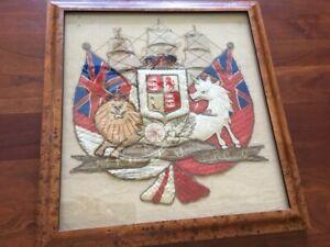 RARE Embroidered Coat-of-Arms, Monarch United Kingdom outside Scotland, Nautical