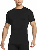 TSLA Men's Cool Dry Short Sleeve Compression Shirts, Athletic Workout Shirt
