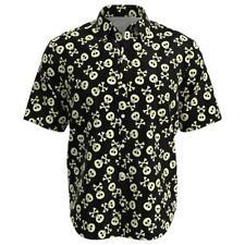 Skulls & Cross Bones Black Men Short Sleeve Button Shirt Size XS-3XL