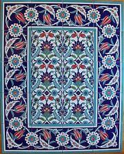 "Tulip, Carnation & Daisy 32""x40"" Turkish Iznik Pattern Ceramic Tile Mural Panel"