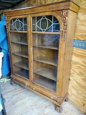 Antique quartersawn oak lion griffin bookcase