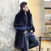 Men's Fox Fur Lapel 3 Colors Long Parka Fur Coat Jacket Outwear Winter Warm Tops