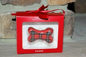 FRINGE CERAMIC ORNAMENT RED & BLACK PLAID RED DOG BONE PERFECT FOR ANY DOG LOVER