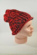 Black & Red Hand Knit Slouchy Hat Beanie Toddler Boy Girl Child 100% Acrylic