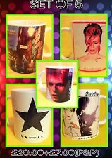 DAVID BOWIE-A SET OF FIVE CLASSIC ALBUM COVERS-ON  MUGS-A SNIP £20.00+P&P