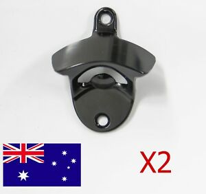 x2 Black Stainless Steel Wall Mounted Bottle Opener Beer Bar Man Cave Decor Gift