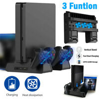 3 Cooling Fan Vertical Stand Charging Station For SONY Playstation PS4 Slim Pro