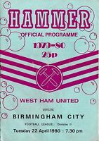 Football Programme>WEST HAM UNITED v BIRMINGHAM CITY Apr 1980