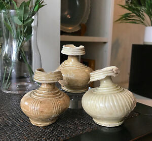 LOT of 3 x Khmer Stoneware Bottle 11th Century A.D. from Ancient Angkor Wat Era