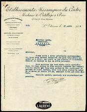 █ Facture 1929 Etablissements Mécaniques du Centre LAURENS à St Etienne Machines