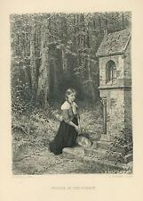 ANTIQUE PRETTY GIRL HAIR BRAID KNEELING IN PRAYER FOREST WOODS ETCHING ART PRINT