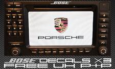 Bose dash decal sticker x3 silver for PORSCHE PCM Satellite Navigation sat nav