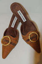 New MANOLO BLAHNIK Cognac Brown Straw Suede Mules SHOES 37 Kitten heels