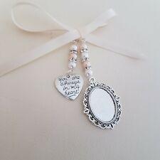 "Wedding Bouquet Charm Silver Oval Bouquet Locket & ""always in heart"" charm"