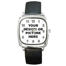 Personalized Custom Your Logo Design Photo Text Square Metal Watch Free Shipping