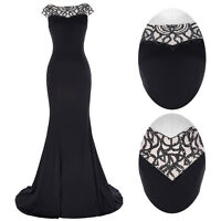 Stock~Black Sleeveless Long Mermaid Evening Gown Formal Party Cocktail Dresses