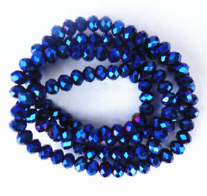 1 Strand 4x3mm Titanize Blue Crystal Glass Faceted Wheel Beads 15.5inch BB4672k