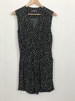 MARCS Womens Black White Spot Sleeveless V-Neck Short Playsuit Romper Size 6
