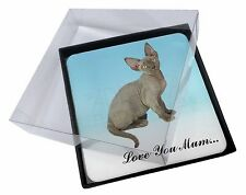 4x Devon Rex Kitten 'Love You Mum' Picture Table Coasters Set in Gif, AC-175lymC