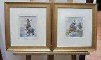 PAIR OF VICTORIAN  WATERCOLOURS THE HUSSARS ARTIST GEORGE CLARK FREE SHIPPING