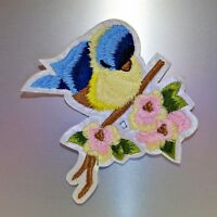 Blue Bird Patch — Iron On Badge Embroidered Motif — Yellow Flower Cute Applique