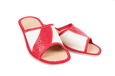 Womens Ladies 100% Red & Cream Leather Slippers Mules Clogs All Sizes