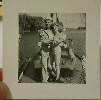 Vintage Old 1940's Photo of Pretty Girl in Silky Swimsuit on Sailboat Boyfriend
