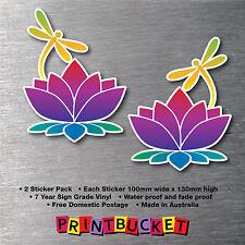Lotus flower & dragonfly 2 pack sticker 7 year water & fade proof vinyl laptop