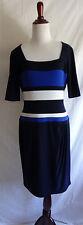 Lauren Ralph Lauren 10 Blue White Jersey Knit Career Sheath Stretch Drape Dress