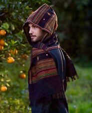 Black Hooded Scarf with hood Embroidery Tribal Pattern Gypsy Jungle Nomadic Kash