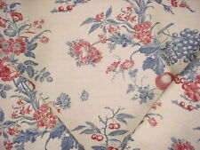 7-3/8y Lee Jofa 990073 Bordeaux Toile Red Blue Country French Upholstery Fabric