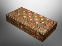 Vintage Syrian Large Mosaic Wooden Inlaid Marquetry Backgammon Game Set [5648 A]