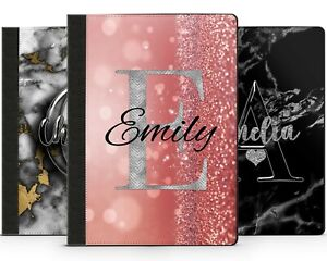Personalised Marble Any Initials/Name Apple iPad Case Cover Flip Leather Printed