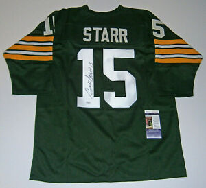 PACKERS Bart Starr signed custom green #15 jersey JSA COA AUTO Autographed