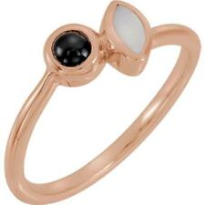 14K Rose Gold Opal and Black Onyx Ring Size 7