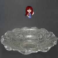 "Clear Floral Elegant Design 9"" Glass Bowl with Classy Fluted Edge MINT CONDITION"