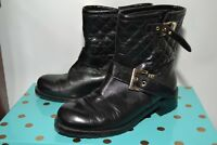 RUSSELL & BROMLEY BLACK QUILTED LEATHER BIKER ANKLE BOOTS UK 3 EURO 36 RRP £275