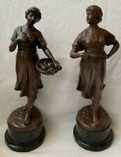 Pair Of Antique Copper Peasant Girl Statues With Marble Base