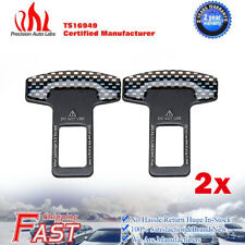 2pcs Universal Car Safety Seat Belt Buckle Alarm Stopper Clip Clamp Carbon Fiber