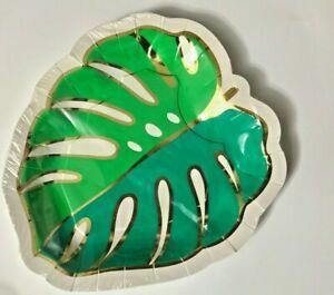 16 Pack Green/Gold Foil Palm Leaf Paper Plates, Luau Tropical Jungle Party