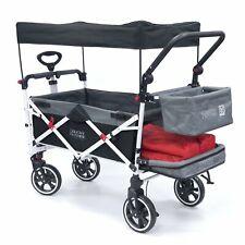 Push Pull TITANIUM SERIES Folding Wagon Stroller with Canopy | Black