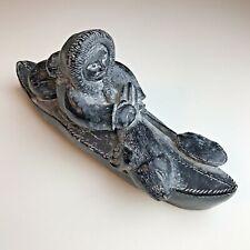 Vintage Edmund Wolf Jr. Carved Soapstone Eskimo Kayaker Sculpture Figurine Signe