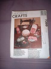 MCCALLS PATTERN 7399 ~ SEWING ROOM ACCESSORIES ~ NEEDLECASE ARMCHAIR CADDY ~ NEW