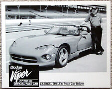 BLACK & WHITE PHOTO ~ 1991 INDIANAPOLIS 500 ~ VIPER PACE CAR ~ CARROLL SHELBY
