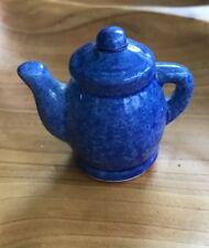 Miniature Coffee Pot Tea Pot Enesco Blue 1 3/4� By 2�