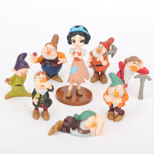 1 Set of 8 Disney Princess Snow White 7 Dwarfs Figures Ornament Toy Decor 10cm