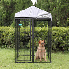 Kennel Steel Wire Pen Run House Outdoor Pet Cage Dog Covered Shade Shelter Yard