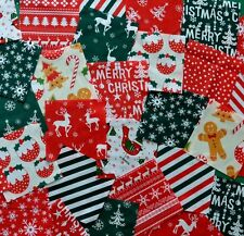 30 x 5 INCH CHRISTMAS FABRIC PATCHWORK SQUARES POLY COTTON RED GREEN CRAFT PACK
