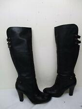 3908f3da6dc Cynthia Vincent Black Leather Zip Knee High Heel Boots Womens Size 9